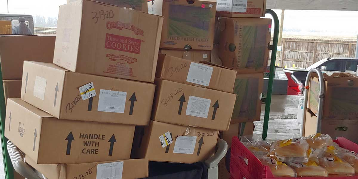 Hundreds of pounds of food for Southland team members to donate to the community