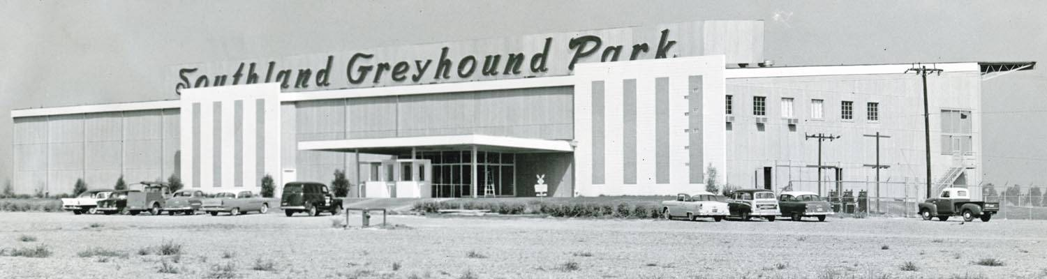 Southland Greyhound Park main building entrance circa 1960s