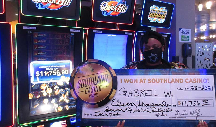 Jackpot winner, Gabriel, won $11,756.90 at Southland Casino Racing