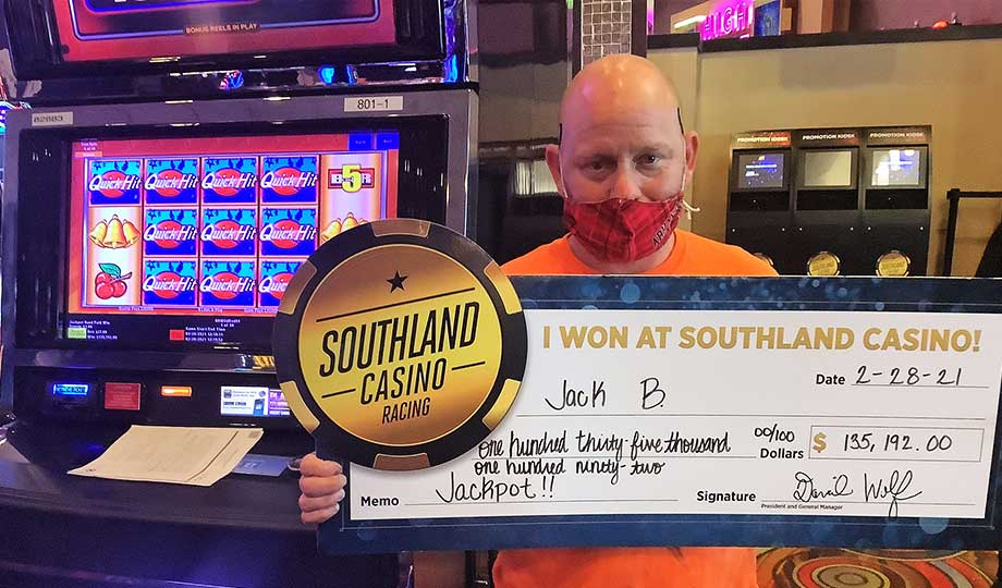Jackpot winner, Jack, won $135,192 at Southland Casino Racing