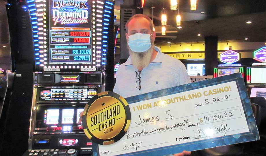 Jackpot winner, James, won $14,730.82 at Southland Casino Racing