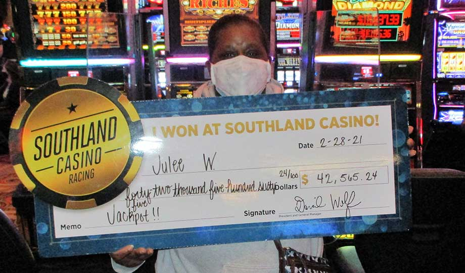 Jackpot winner, Julee, won $42,565.24 at Southland Casino Racing
